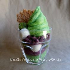 Matcha green tea azuki bean sundae needle by FunFeltByWinnie