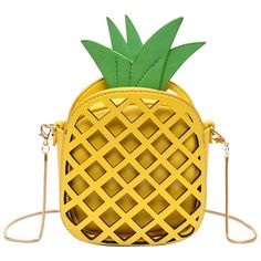 Hollow Out Pineapple Shaped Crossbody Bag featuring polyvore women's fashion bags handbags shoulder bags rosegal crossbody handbag yellow crossbody purse pineapple purse yellow cross body purse yellow handbags