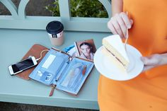 Elektronista Mini Digital Leather Clutch Bag in Caramel | KNOMO | The Elektronista Digital Mini-Clutch is the little sister to the original tablet-sized Elektronista. Designed in collaboration with digital blogger Chistiane Vejlø to fulfil women's digital lives, it includes an integrated portable battery and fits a smartphone and other smaller essentials. Organises your devices by day and sophisticated enough to take to dinner in the evening