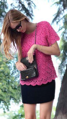 Short Sleeve Crochet Top