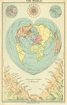 1913 J. Bartholomew world map : Heart shaped (Stabius-Werner) projection [1125x1751] [OC]