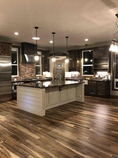 Rustic Country Kitchens, Country Kitchen Designs, Rustic Kitchen, Modern Farmhouse, Open Kitchen, Farmhouse Decor, Hidden Kitchen, Kitchen Windows, Farmhouse Lighting