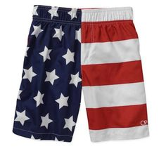 OP Youth Boys Swim Trunks American Flag Patriotic Americana Swimsuit #Op #SwimShorts