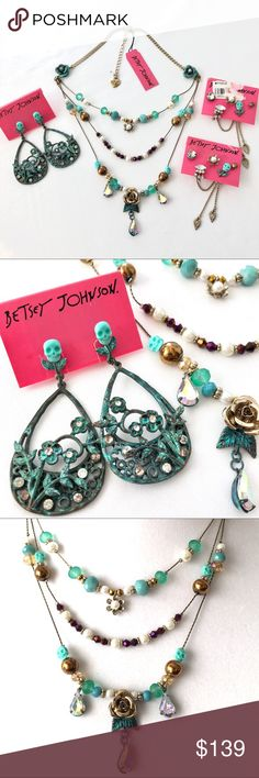 Betsey J 'Patina' Necklace/Earrings Set NWT/HTF! From a retired collection. Set features cute little skulls, flowers and more. Patina, copper, purple, gold and other tones. Pretty and edgy at the same time!  One earring set has 2 damaged studs. A petal  broke off; will be enclosed if you want to try to fix it. The other is a scuffed small cooper toned stud. Each earring can be worn without the chains.   Metal, plastic, glass. No other flaws in the set. NWT, HTF. Collectible! Betsey Johnson…