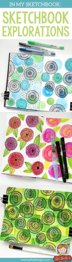 Sketchbook exercises and art journal pages inspired by Lisa Congdon's Sketchbook Explorations course -this is a really fun course to jump-start your creativity!  sketchbook drawing | mixed media | art journal pages from Kate Hadfield. Click for more pages and tips!