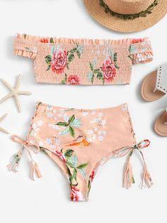 Shop Random Floral Bardot Top With High Waist Bikini online. SHEIN offers Random Floral Bardot Top With High Waist Bikini & more to fit your fashionable needs. Bathing Suits For Teens, Cute Bathing Suits, Cute Swimsuits, Women Swimsuits, Triathlon Swimsuit, Bardot Bikini, Swimwear Australia, Boho Swim Suits, Mix And Match Bikini