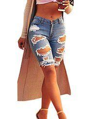Knee length Denim Shorts Women Vintage Ripped Jeans - Ripped Jeans for women - Ideas of Ripped Jeans for women Ripped Shorts Outfit, Knee Length Denim Shorts, Womens Ripped Jeans, Ripped Jeans Outfit, Ripped Jean Shorts, High Waisted Shorts, Denim Jeans, Vans Outfit, Torn Jeans