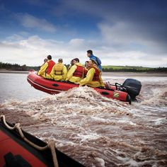 Tidal Bore Rafting Feel the rush of riding eight-foot waves in a white-water Zodiac boat as the surging power of the Bay of Fundy's world's highest tides turns the Shubenacadie River into a water roller coaster you'll find only in Nova Scotia. Nova Scotia Tourism, East Coast Canada, East Coast Road Trip, Atlantic Canada, O Canada, Prince Edward Island, New Brunswick, Fishing Villages, Rafting