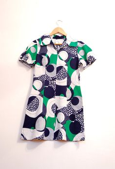 Abstract Pattern Vintage Dress Mini Dress In Green White by aveing