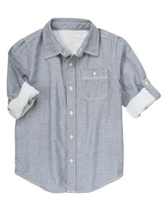 Doubly soft chambray shirt has button tabs and stripe lining.