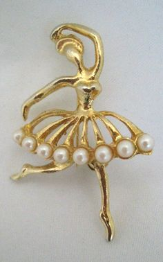 Brooch Pin Ballet Dancer Vintage 60s Pin in by janetsnodgrass, $10.00