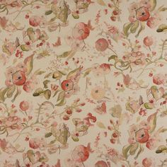 Floral Watercolor Fabric from Fibre Naturelle, Cotton Fabric by Meter, Pastel Botanical Fabric with Flowers, Butterflies & Dragonflies Watercolor Fabric, Floral Watercolor, Pink Fabric, Cotton Fabric, Beige Background, Color Blending, Curtain Fabric, Fabric Swatches, Fabric Patterns