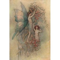 Complete Poetical Works of Geoffrey Chaucer 1912 Flora & Zephyr Canvas Art - Warwick Goble (18 x 24)