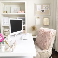 Blush home office decor