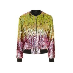 TopShop Ombre Sequin Bomber Jacket ($100) ❤ liked on Polyvore featuring outerwear, jackets, multi, flight jacket, blouson jacket, pocket jacket, topshop jacket and topshop