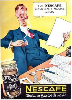 Aviso: Nescafé. Ilustrador: Roberto. Publicó en Sintesis Publicitaria, dècada de 1940.