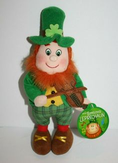 "Irish Softies Plush Singing Leprechaun 11"" Orange Hair Shamrock Musical Soft NEW"
