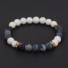 2017 New Men Women's Yoga Bead Charm Agate Stretch Lovely Fashion Bracelets - diy projects Making Bracelets With Beads, Gemstone Bracelets, Gemstone Beads, Jewelry Bracelets, Silver Bracelets, Lava Bracelet, Men's Jewelry, Bracelet Men, Silver Rings