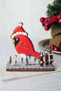 Birch and Red Cardinal Gingerbread Cookie