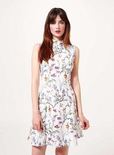 High Neck Print Shift Dress - Miss Selfridge