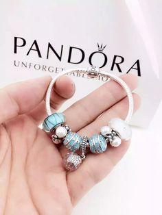 50% OFF!!! $199 Pandora Charm Bracelet Blue White. Hot Sale!!! SKU: CB01586 - PANDORA Bracelet Ideas