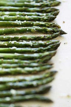 Roasted Asparagus: 1 1/2 lbs asparagus, 2 TBS olive oil, salt & pepper, 1 tsp thyme. Roast @ 400 12-15 mins.