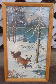 Vintage Framed Paint by Number Deer STag Rustic Woodsy Snow
