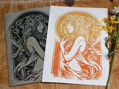 "Dame De Fleurs - Block Print The ""Dame De Fleurs"" print is in part a modern yet primitive interpretation of the Art Nouveau movement of the late century. I have always been inspired by Alphonse Mucha in particular. The Ar. Alphonse Mucha, Fleurs Art Nouveau, Linocut Prints, Art Prints, Block Prints, Lino Art, Linoprint, Art Design, Graphic Design"