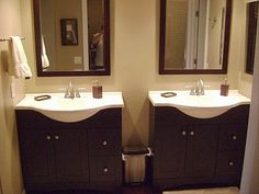 His And Hers Espresso Vanities In Master Bath (Downstairs)