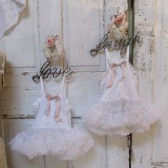 Shabby chic wall hanging two little girls by AnitaSperoDesign, $120.00
