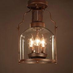 Rustic Ceiling Light Lantern Rust Metal 3-Light Semi Flush Mount & Glass Shade | Home & Garden, Lamps, Lighting & Ceiling Fans, Chandeliers & Ceiling Fixtures | eBay!