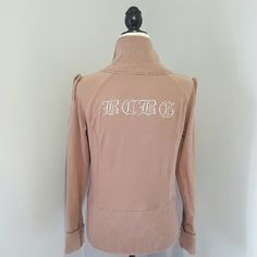 BCBGMAXAZRIA Tan Zip Up Jacket Excellent condition. 95% cotton 5% spandex. Reasonable offers accepted. Fast shipping! Thank you for shopping my closet! BCBGMaxAzria Jackets & Coats