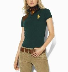 Ralph Lauren Womens Big Pony Skinny Polo Shirt in Green