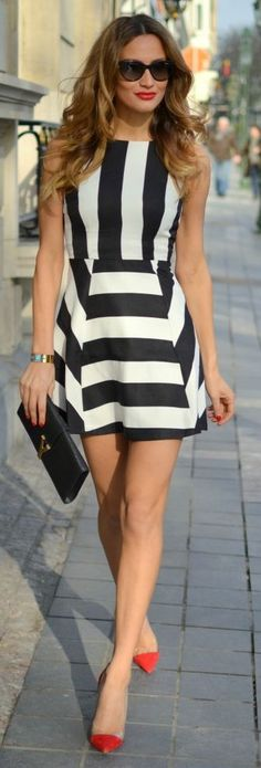 Classic summer striped dress, red heels, clutch