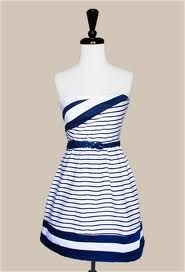 striped navy-blue and white dress