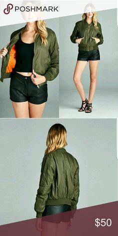 Olive bomber jacket Medium weight, 100% nylon, nylon twill padding. Jackets & Coats