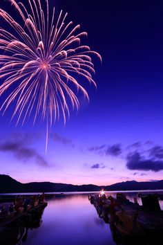 Fireworks over Lake Hibara-ko, Fukushima, Japan