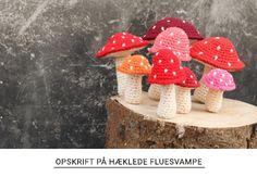 Free recipe for crocheted fly mushrooms from Yarnfreak. Christmas Diy, Christmas Ornaments, Chrochet, Free Food, Stuffed Mushrooms, Crochet Patterns, Embroidery, Knitting, Holiday Decor