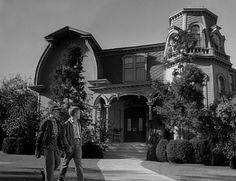 """This is a scene from """"Leave It to Beaver"""" but does this house look familiar?....Maybe you would recognize it as the home of """"The Munsters""""?"""