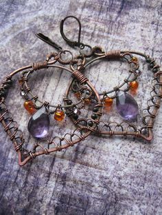 FREE SHIPPING  - Boho Filigree Lace Copper Earrings - Eastern Leaf Earrings- Purple Orange  - Ornate Bohemian Summer Statement Earrings. $52.00, via Etsy.