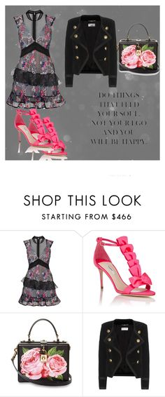 """""""@@@"""" by azra-v ❤ liked on Polyvore featuring self-portrait, Olgana, Dolce&Gabbana and Yves Saint Laurent"""