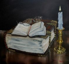Old Family Bible and Psalm Book Painting  - Old Family Bible and Psalm Book Fine Art Print