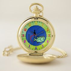 I love to go fishing with a red heart pocket watch - red gifts color style cyo diy personalize unique
