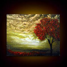palette knife painting tree painting textured texture 16 x 20 bird metallic gold cloud impressionist original abstract landscape impasto art