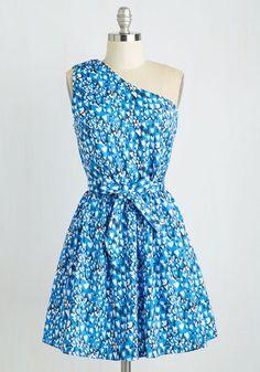 Dapple of my eye dress, modcloth, large, NWT, One Shoulder, Blue, tie, Kling #ModCloth #OneShoulder