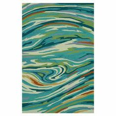 Hand-hooked rug with an abstract swirl motif. Product: RugConstruction Material: PolyesterColor: Teal and multi  Features: Hand-hooked Note: Please be aware that actual colors may vary from those shown on your screen. Accent rugs may also not show the entire pattern that the corresponding area rugs have.