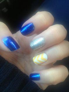 Blue and yellow chevron nails. WVU! Nail Art
