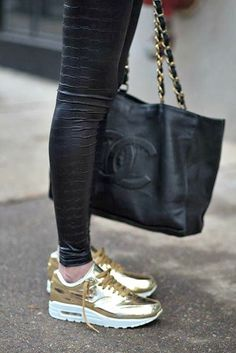 Nike Air Max Gold, bag, leggings.... WANT them all!! Mothers Day???!!! http://moncler-online-shop.blogspot.com/ nike shoes,nike fashion style