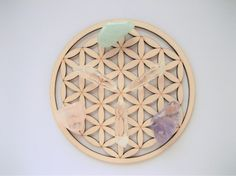 SMALL Size. FLOWER of LIFE Wooden Crystal Grid. Flower of Life