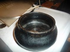 "unknow arts and crafts pottery bowl black 3"" opening"